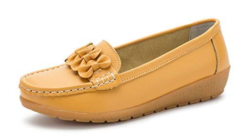 SMajong Mocasines para Mujer Loafers de Cuero Zapato Plano Casual Zapatos de Conducción Cómodos