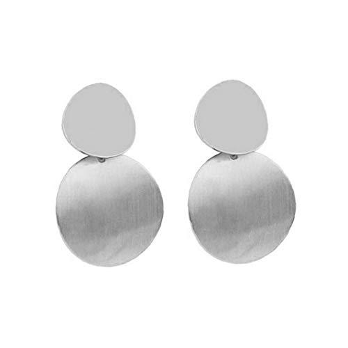 Odoukey Pendientes Colgantes geométrica 1pair Doble Vuelta Gota Gota para el oído de la Mujer