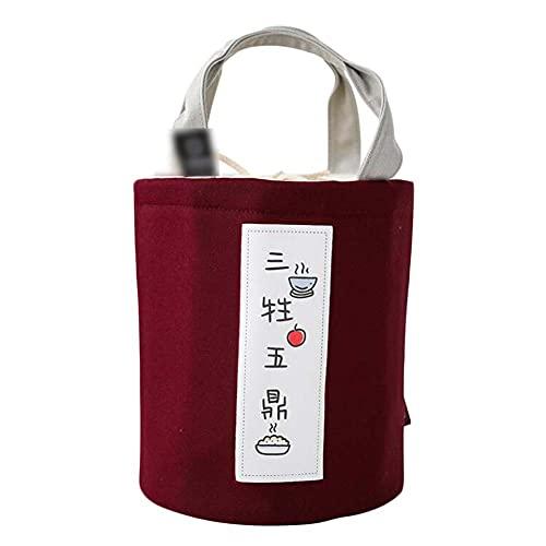 Hornet Park Bolsa de Asas de lonchera de Estilo japonés Rojo Bolsa de Almuerzo con Aislamiento de Papel de Aluminio Redondo Bolsa de Lona Bento