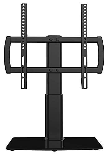 Soporte de TV con soporte de pared para TV de 27 a 55 pulgadas, base de vidrio templado resistente de 4 niveles, color negro