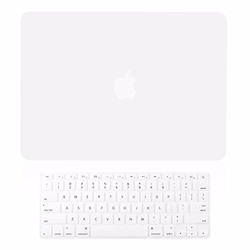TOP CASE - 2 in 1 Signature Bundle Rubberized Hard Case and Keyboard Cover ONLY Compatible MacBook Air 13 A1369 & A1466 (Older Version, Release 2010-2017) - Satin White