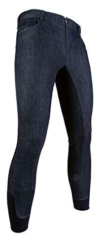 HKM - Pantaloni da equitazione da uomo, in denim, con rinforzo in silicone, blu jeans, 52