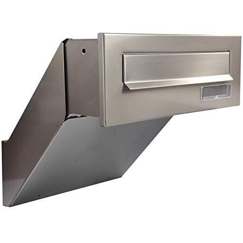 Mauerdurchwurf Briefkasten 100% Edelstahl V2A NEU Einbaubriefkasten NEU (100% Edelstahl)