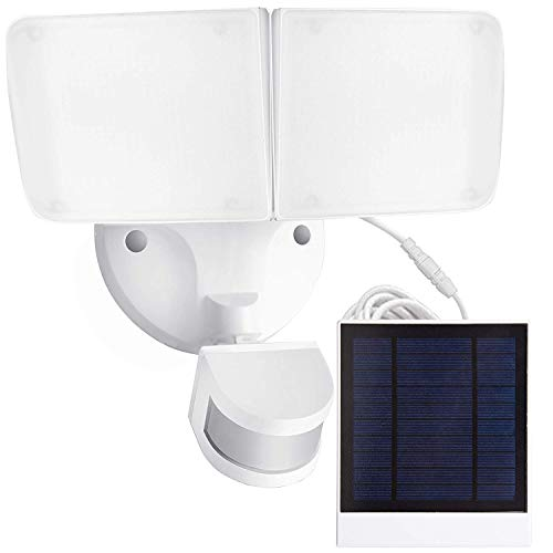 Amico Solar Motion Sensor Light Outdoor 5500K1000LM IP65 Waterproof, Adjustable Head Flood Light with 2 Modess Automatic and Permanent on, for Entryways, Patio, Yard by Amico