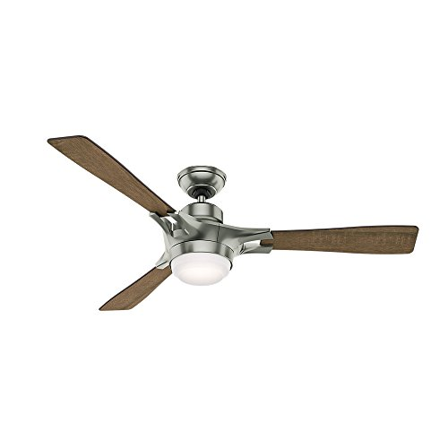 Hunter Indoor Wifi Ceiling Fan with LED Light and remote control - Signal 54 inch, Satin Nickel,...