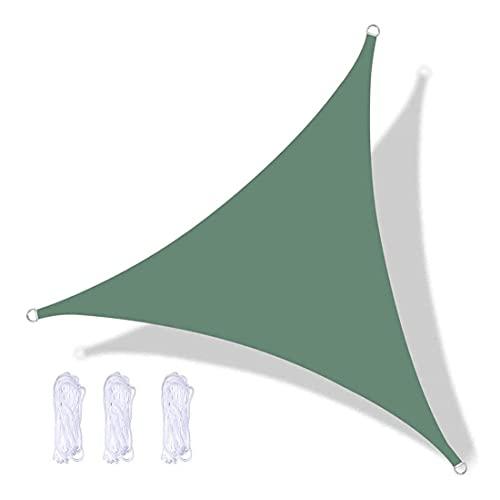 Toldo triangular para jardín, 95% antirayos UV e impermeable, resistente al desgaste, resistencia a altas temperaturas, fácil de instalar para jardín, patio, patio, con cuerda (6 x 6 m, verde oscuro)