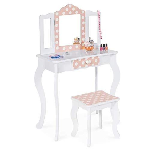 IDMarket - Coiffeuse Enfant Roza Blanche et Rose avec 3 miroirs et Tabouret