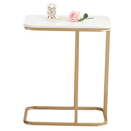 Table d'appoint Bout de canapé Dessus en marbre Base en métal Ronde Décor à la Maison Canapé Salon