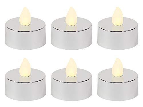 LED Teelicht flackernd inkl. Batterien TL-18 elektrische Kerze silber metallic Teelichter flammenlos von Alsino, wählen:6 Stück