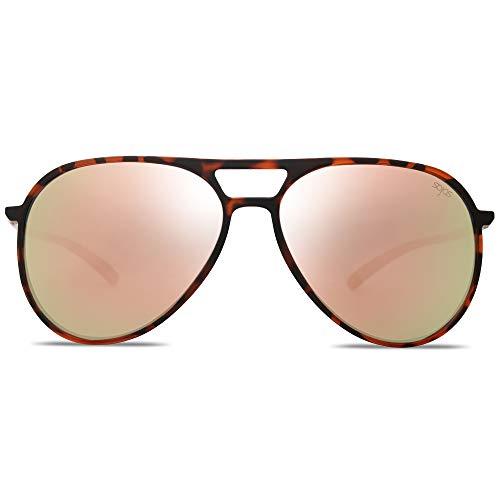 SOJOS Handgemacht Ultra Leicht Super Elastisch TR90 Pilot Damen Herren Sonnenbrille Polarisiert SJ2065 mit Demi Rahmen/Rosa verspiegelte Linse