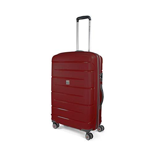 MODO by Roncato Starlight 2.0 trolley medio rigido ultraleggero e resistente con 4 ruote piroettanti e combinazione TSA integrata, colore rosso, 71x47x26, 3.4 kg, 80 l