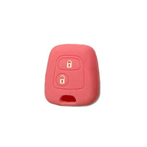 1neiSmartech Cover Guscio Colorato Materiale Silicone Morbido Per Scocca Chiave 3 Tasti Auto Citroen C1 C2 C3 C5 Picasso Xsara Saxo Berlingo 10 Colori (Rosa)