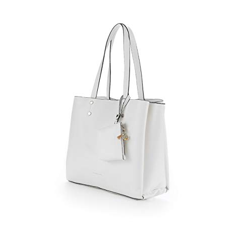 PACO MARTINEZ | Bolso shopper blanco en tejido doble faz