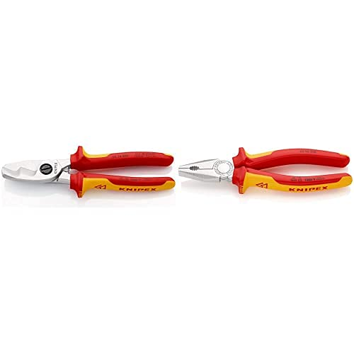 Knipex Tijeras Cortacables Con Filo De Corte Doble Aislado 1000V (200 Mm) 95 16 200 + Alicate Universal Aislado 1000V (200 Mm) 03 06 200