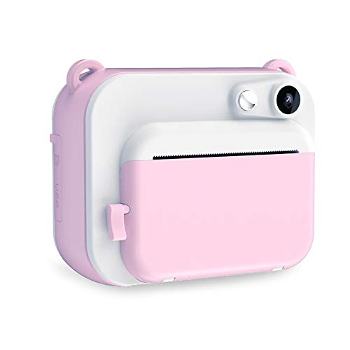 Cámara de Impresión Instantánea para Niños, Cámara De Impresión Digital De 2 Pulgadas 1080P con 3 Rollos De Papel De Impresión, Cumpleaños para Niños Y Niñas (Pink)
