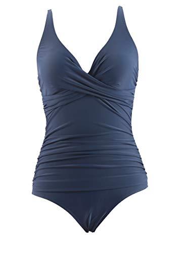 LA ORCHID Laorchid eintailiger Badeanzug bademode v Ausschnitt Damen Badeanzug bauchweg Push up große größen Schwimmanzug Raffung Bikini Dunkel Blau S