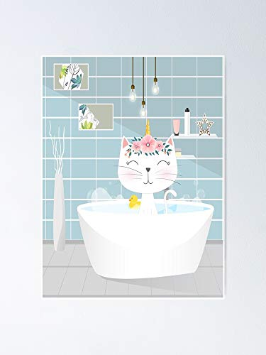AZSTEEL Unicorn Cat Baby Bath Shower Poster No Frame Board for Office Decor, Best Gift Family and Your Friends 11.7 * 16.5 Inch
