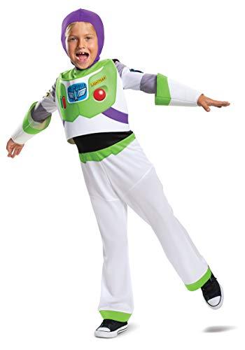 Disfraz para niño de Buzz Lightyear clásico de Toy Story 4, Blanco, M (7-8)