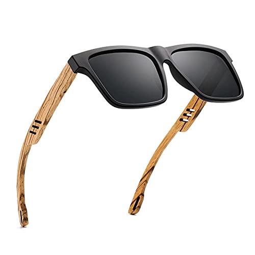 LKING Gafas De Sol Polarizadas De Madera De Nuevo Estilo, Gafas Cuadradas, Gafas De Bambú Y Madera, Gafas De Sol Transfronterizas De Hombre Retro Casual