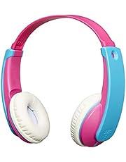 JVC TinyPhones barn trådlösa Bluetooth-hörlurar med volymbegränsare, rosa/blå