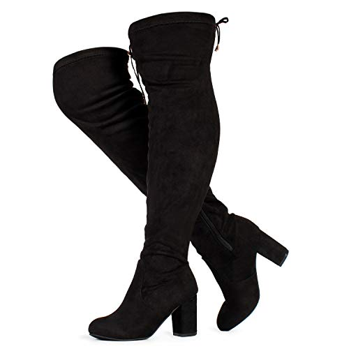 RF ROOM OF FASHION Women's Wide Calf Over The Knee Chunky Heel Stretch Boots Black SU (10)