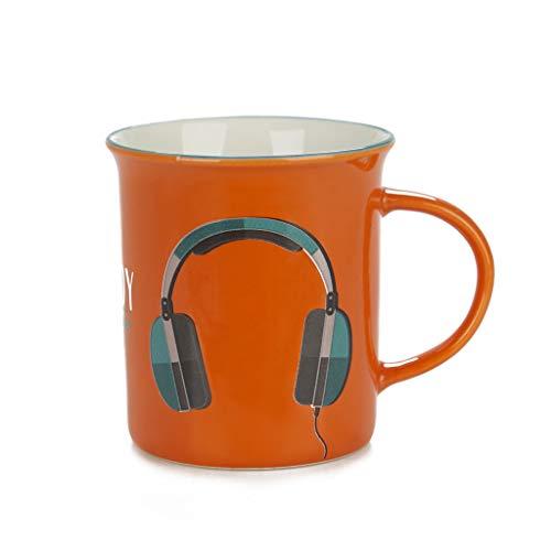Balvi Mug Enjoy Color Naranja Taza Original de Colores Vintage Diseño Auriculares Cerámica 9,2x11,7x8,5 cm