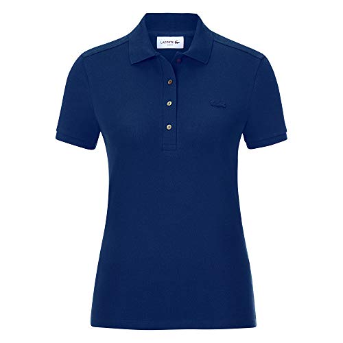 Lacoste Damen PF5462 Polo Shirt Kurzarm, Frauen Polo-Hemd,4 Knopf, Regular Fit,Methylene(F9F),38 EU (38)