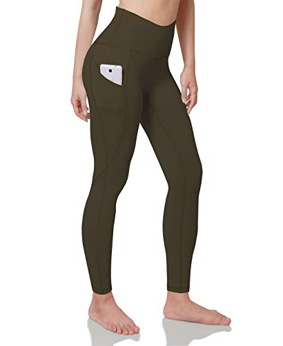 ODODOS Women's High Waisted Yoga Pants with Pocket, Workout Sports Running Athletic Pants with Pocket, Full-Length, Plus Size, Olive,XX-Large