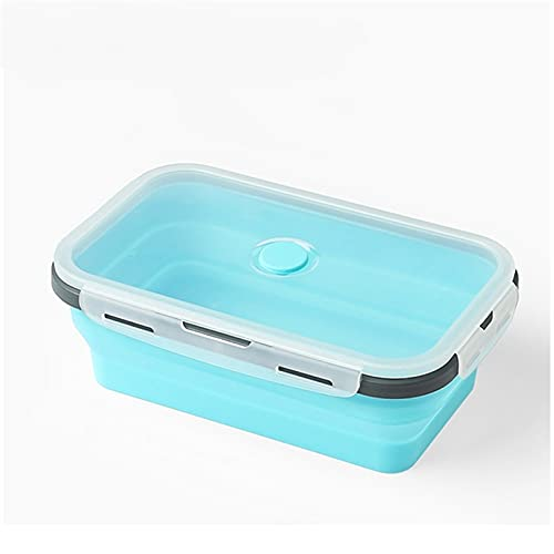 RWEAONT Silicona Plegable Bento Almuerzo Caja de Almuerzo Plegable Portátil Portátil Vestuario Envase de Comida para la Cocina CF-102 (Color : Dark Blue, Lunch Box Capacity : 800ML)
