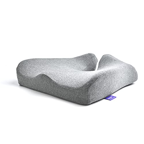 Cushion Lab Patented Pressure Relief Seat Cushion for Long Sitting Hours on Office/Home Chair, Car, Wheelchair - Extra-Dense Memory Foam for Hip, Tailbone, Coccyx, Sciatica - Light Grey