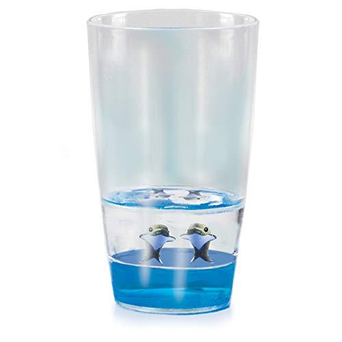 Floatarama Tumbler - Delfin von Deluxebase. Acryl-Trinkglas mit schwimmenden Tierfiguren. 250 ml BPA-frei Delfin Trinkglas für Kinder und Erwachsene.