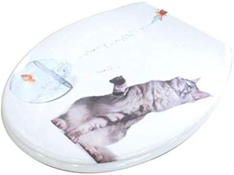 YUNMO Gepufferte Harnstoff-Formaldehydharz-WC-Sitz verdickt Universal-WC-Abdeckung absteigender Deckel (Farbe   A)