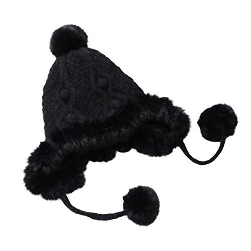HIOD Sombreros de Invierno Cálido para Mujer Gorro de Lana de Punto Gorros Grueso con Pelotas de Pelusa Sombrero,Black