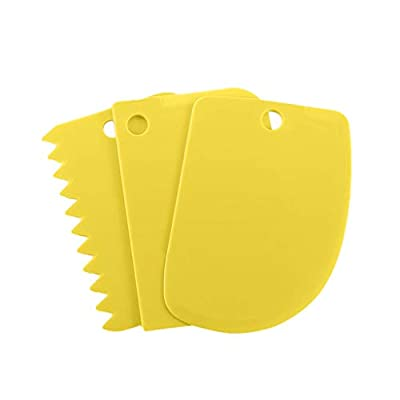 RSLG 3PCS/Set Dough Scraper Cake Decorating Baking Tools Smooth Jagged Edge Spatulas Kitchen Tool (Yellow)