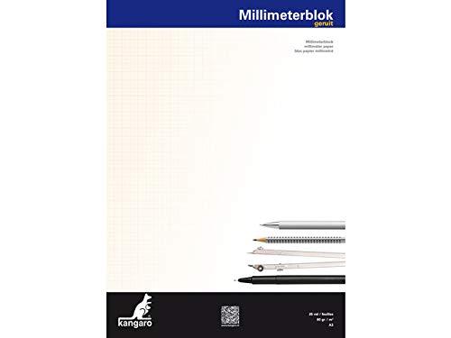 Millimeterpapier Kangaro A3 80 grams block 25 Blatt