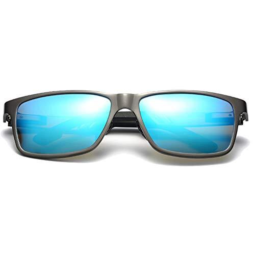 DKee Gafas de sol polarizadas de aluminio y magnesio para hombre, color azul, marrón, rojo y plateado (color: azul)