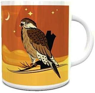 White Ceramic Coffee Mug with Arabian Falcon Illuatration Design