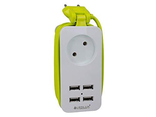 Regleta eléctrica con 4 puertos USB de 5 V y 2,4 A para carga rápida, 1 enchufe de 2 polos y 10 A, cable de 1,5 m blanco