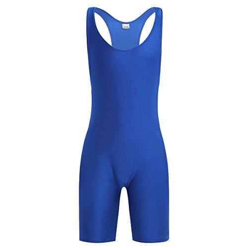 iEFiEL Herren Body Bodysuit Einteiler Overall Slim Fit Männerbody Stringer Unterhemd Unterwäsche mit langem Bein Blau L