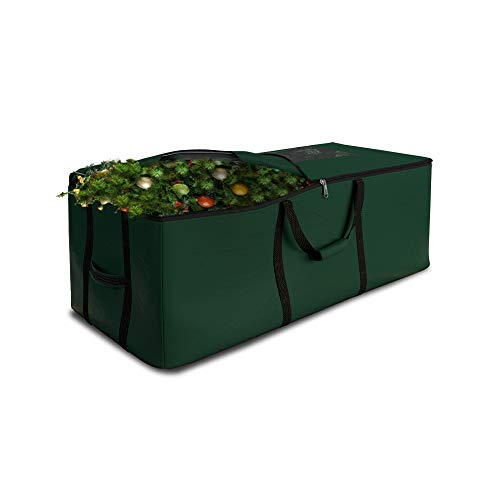 Christmas Tree Storage Bag Waterproof with Padded Carrying Handles & Dual zipper Superior Protection - Extra Large Container Duffle Bag fits up to 9 feet tall Xmas Artificial Tree (Green)