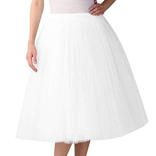 Xmiral Damen Tüll Tutu Rock Plissee Gaze Reine Farbe Knielanges Elastisch Ballett Tanzenrock(Weiß)
