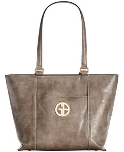 Giani Bernini Womens Faux Leather Shopper Tote Handbag Gray Large