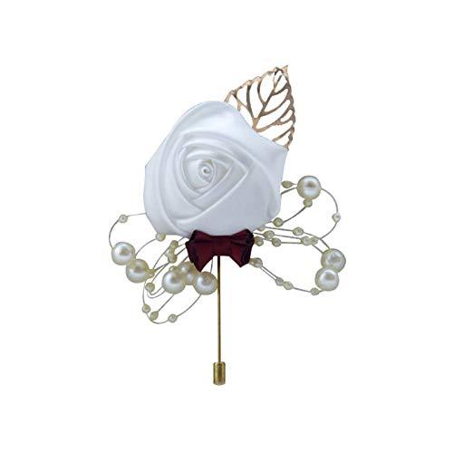 Anstecknadel, künstliche Blume, Blätter, Boutonniere, Ansteckblume, Hochzeitszeremonie, Braut, Bräutigam, Rot / Violett Gr. Einheitsgröße, weiß