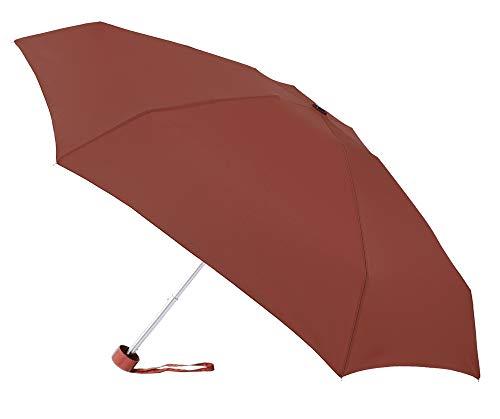 Paraguas Plegable de VOGUE pequeño, Ligero y antiviento. Paraguas Mujer con Sistema antiviento y se confecciona en Doce Colores. Paraguas antiviento. (Rojo Oscuro)
