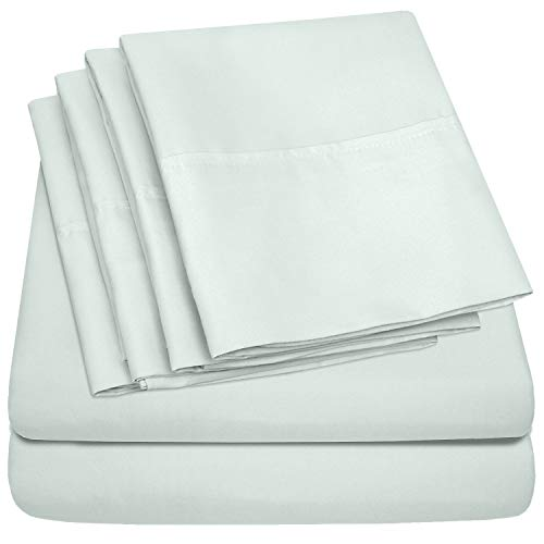 Sweet Home Collection King Size Bed Sheets-6 Piece 1500 Thread Count Fine Brushed Microfiber Deep Pocket Set-EXTRA PILLOW CASES, VALUE, Mint
