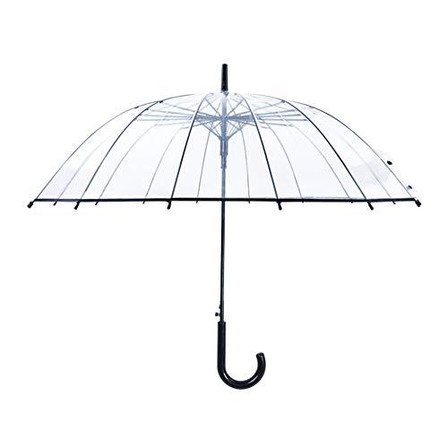 長傘 透明傘 ジャンプ傘 ビニール 大きいサイズ 16本骨 雨傘 高強度グラスファイバー採用 梅雨対策 丈夫 耐風 撥水 軽量 男女兼用 ステッキ傘 頑丈な おしゃれ 通学 通勤 ブラック*1