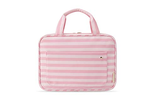 BAGSMART Toiletry Bag Large Hanging Travel Wash Bag Womens Cosmetic Bag for Full Sized Container (Pink Straps)