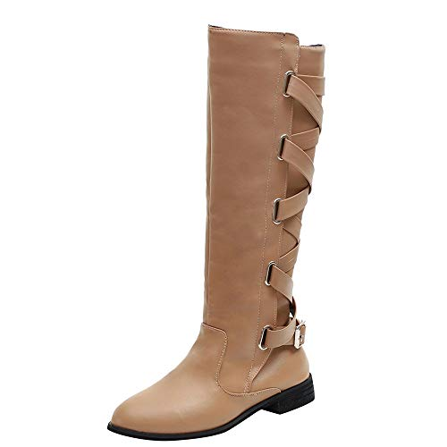 LIM&Shop Knee High Boot Chunky Block Heel Retro Lace Up Western Shoes Suede Closed Toe Low Heel Winter Booties Strappy Khaki