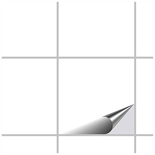 FoLIESEN Fliesenaufkleber 15x15 cm - Fliesen-Folie Bad - Klebefolie Küche - 80 Klebefliesen, Weiß Klassik seidenmatt