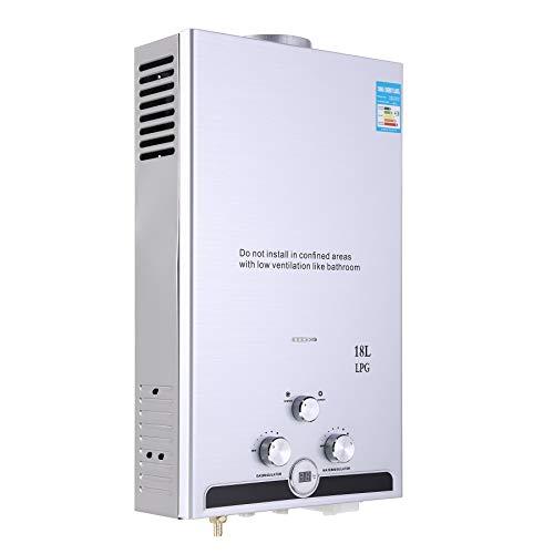 CO-Z Calentador de Agua de Gas 8L/10L/12L/16L/18L Calentador de Gas Butano sin Tanque Calentador de Agua Instantaneo a Gas Natural Automatico (18L)